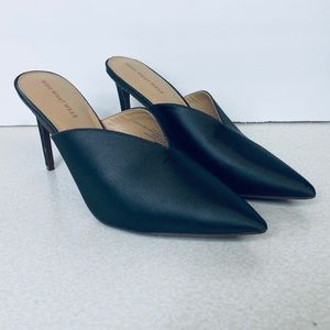 Who What Wear Target satin pointed toe slides heel
